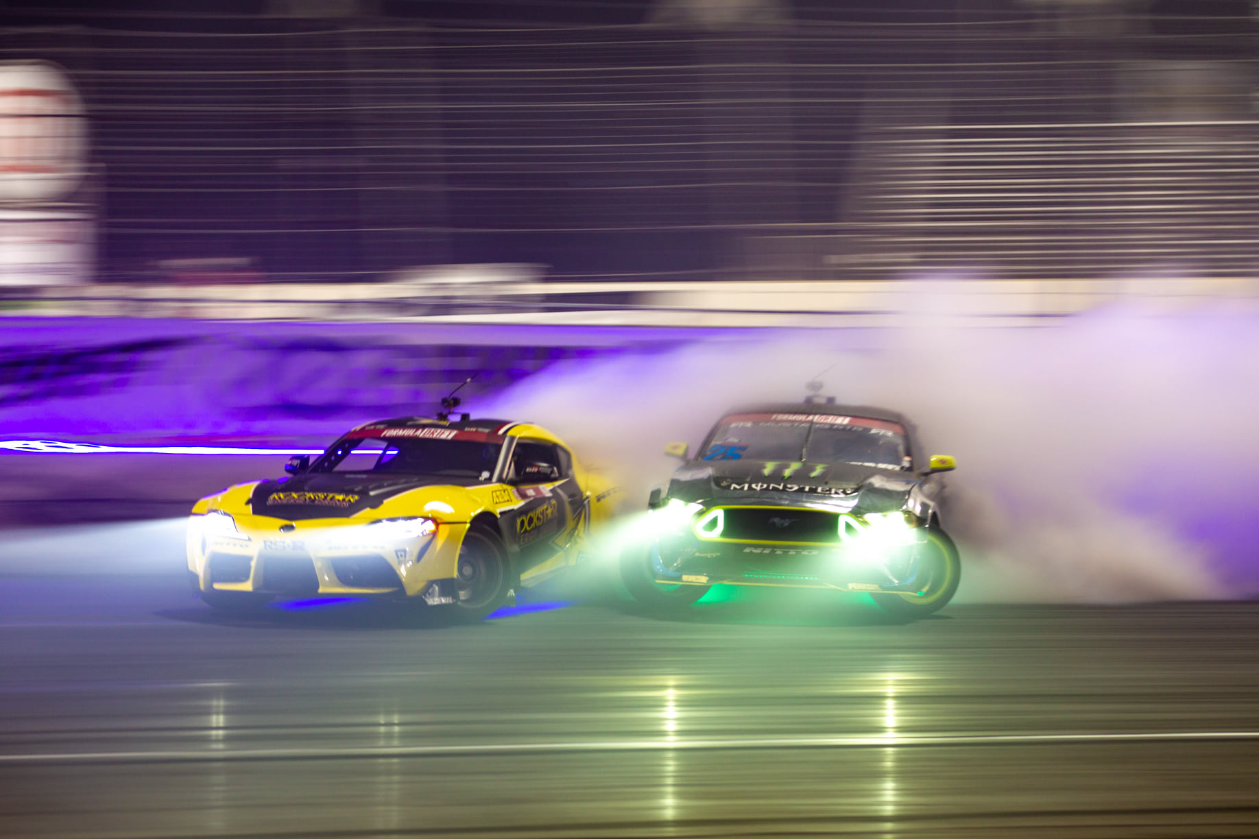 Frederick Aasbo leads Vaughn Gittin Jr at Irwindale Speedway. Photo by Sam Wissmann of Togue Culture.