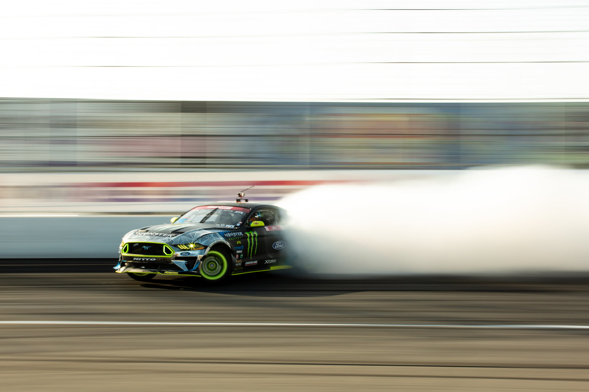 Vaughn Gittin Jr lays down the smoke at Irwindale Speedway. Photo by Sam Wissmann of Togue Culture.